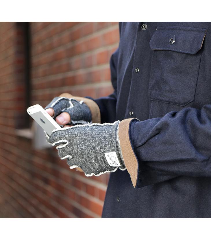 【期間限定!クーポンで10%OFF】KEPANI(ケパニ) ラフィー裏起毛 スウェット カットオフグローブ / 手袋 指なし / サワロ-3 / フィンガレス / メンズ レディース / 日本製