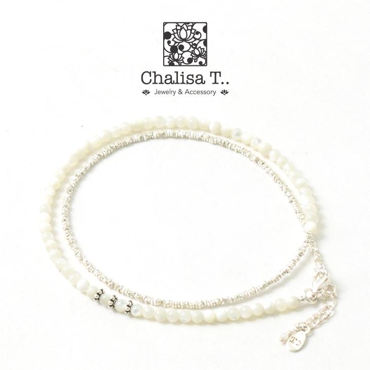 CHALISA T..(チャリッサ・ティー) ラウンドシェルラップアンクレット / カレンシルバーフラットビーズ / 3mm マルチカットビーズ / レディース