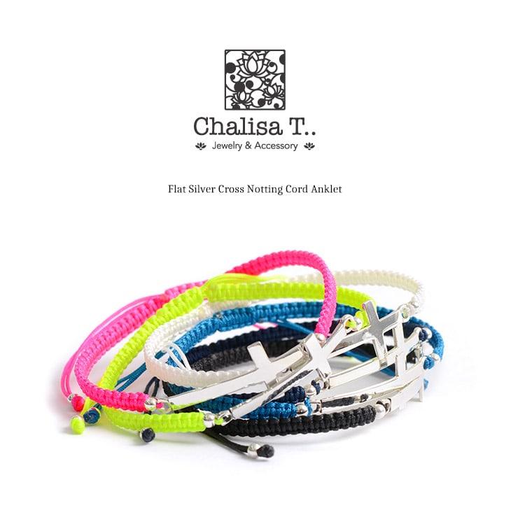 CHALISA T..(チャリッサ・ティー) フラットシルバー クロス ノッティングコード アンクレット / シルバー925 / プレーティング