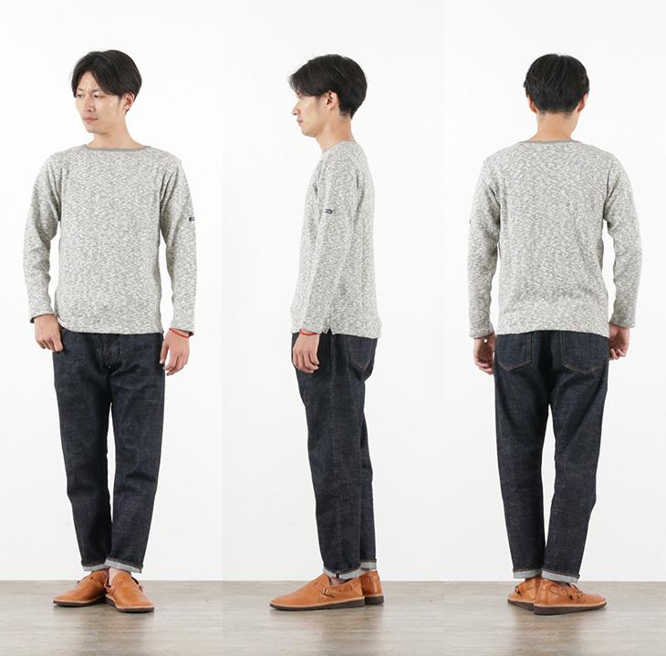 TIEASY(ティージー) オーガニック ボートネック バスクシャツ 長袖  / 無地 / コットン Tシャツ / メンズ / 日本製