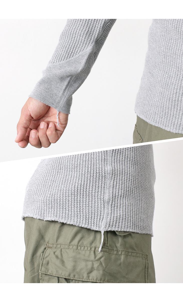 【期間限定!クーポンで10%OFF】BARNS(バーンズ) ビッグワッフル ヘンリーネック ロングスリーブ サーマル Tシャツ / 長袖 無地 メンズ / 日本製 / BR-3051
