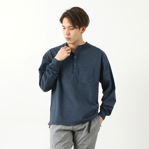REMI RELIEF(レミレリーフ) 別注 メランジ スーパー度詰め 天竺 ヘンリーネック ポケット Tシャツ / 長袖 / メンズ / 無地 / 日本製
