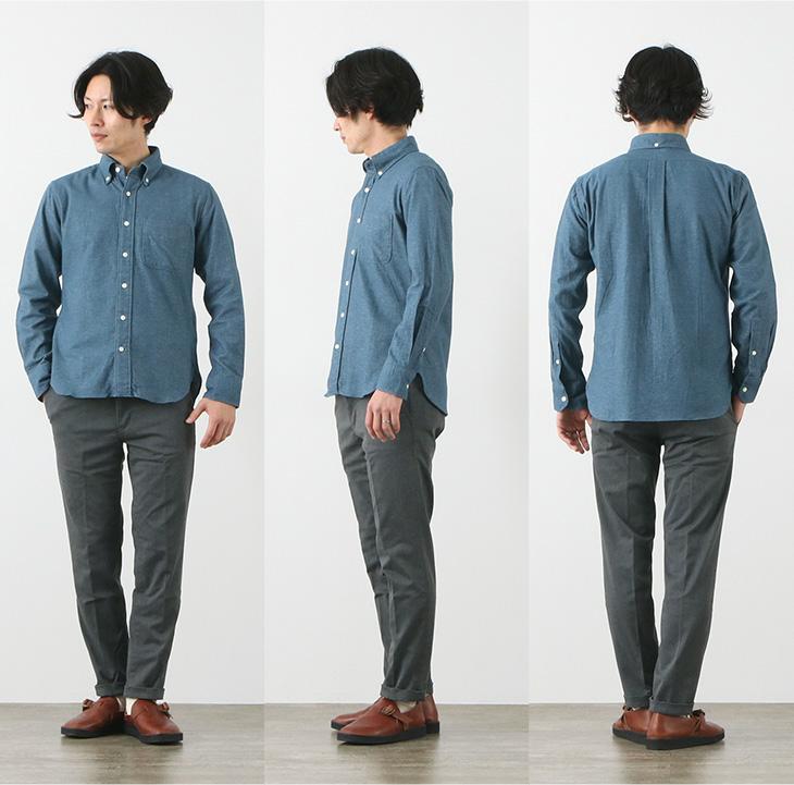 ROCOCO(ロココ) ストレッチ 無地 フランネル ボタンダウンシャツ / スタンダードフィット / 長袖 メンズ / ネルシャツ / 日本製 / FLANNEL B.D SHIRTS