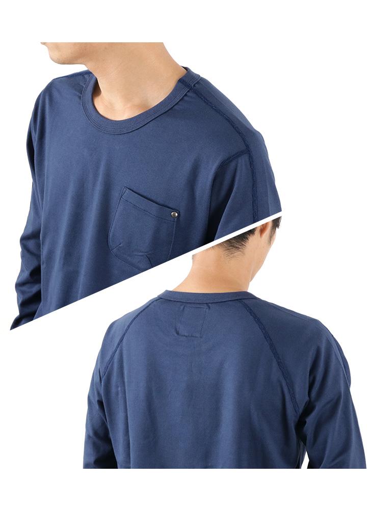 RE MADE IN TOKYO JAPAN(アールイー) 別注 スプリット ラグラン ポケット ロングスリーブ Tシャツ / メンズ / 長袖 無地 / クルーネック / 日本製