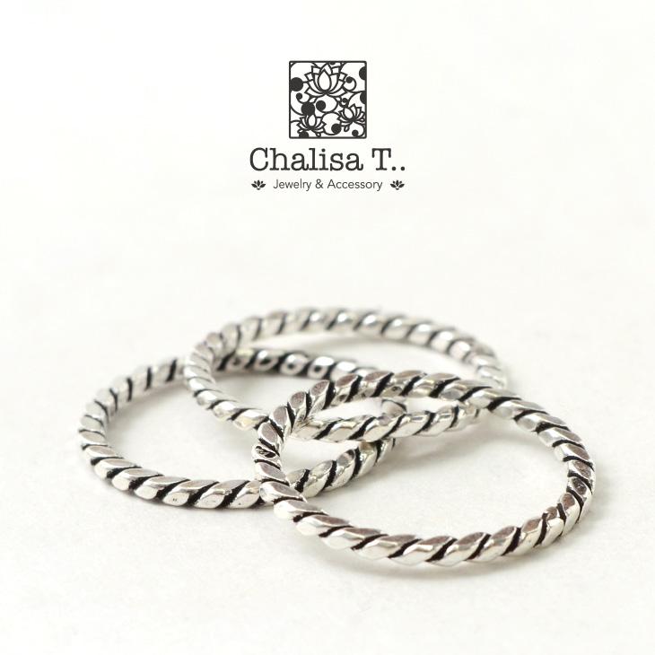 CHALISA T..(チャリッサ・ティー) エクストラファイン シルバーリング / ブラックスパイラル / シルバー925 / 指輪 / レディース