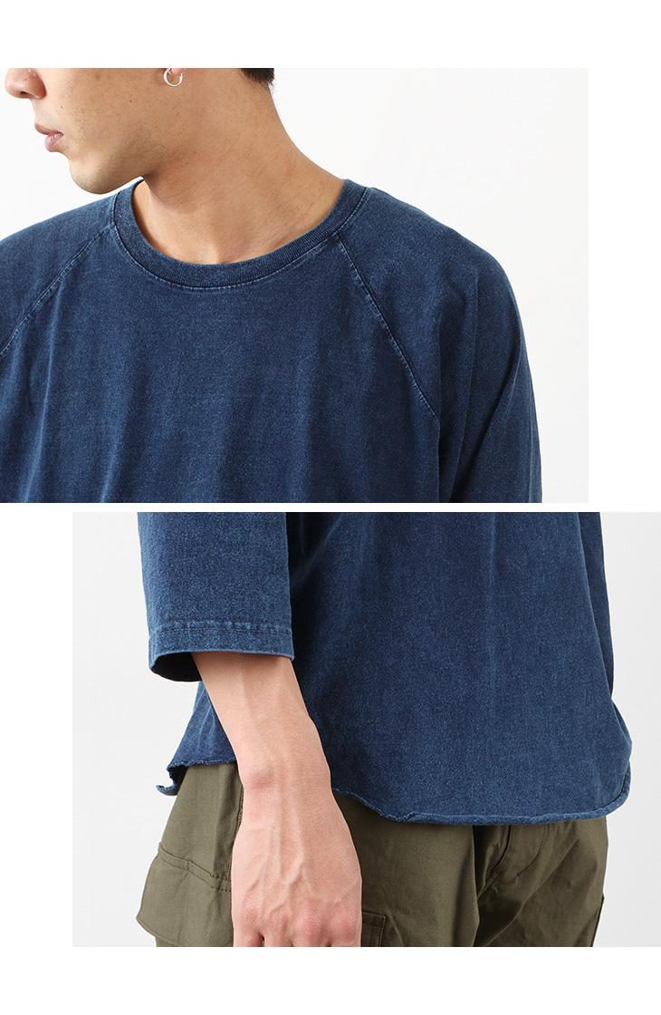 GOOD ON(グッドオン) ベースボール Tシャツ ラグラン / インディゴシェーブ / 7分袖 / メンズ / 無地 / ピグメントダイ / アメリカ製生地 / 日本製 / GOLT-601IS