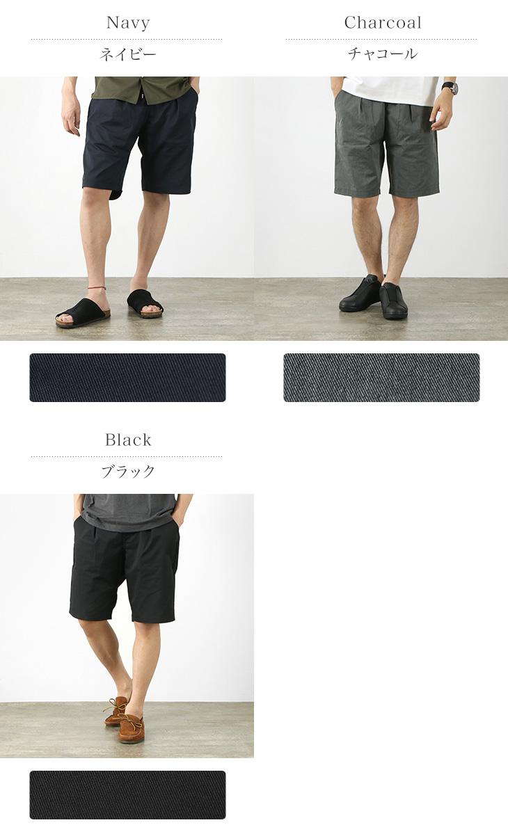 RE MADE IN TOKYO JAPAN(アールイー) クールマックス ツイル タック ハーフパンツ / メンズ / ショートパンツ ショーツ / イージー / 上品 / ストレッチ 伸縮 / 高耐久 / 吸水速乾 / 機能素材 / 日本製 / 3421S-BT / COOL MAX TWILL TUCK  HALF PANTS