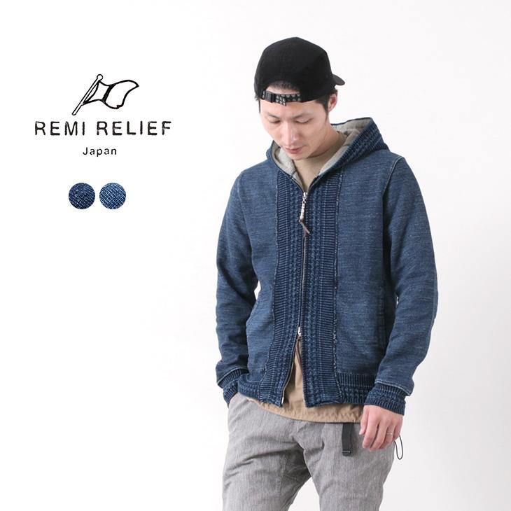 REMI RELIEF(レミレリーフ) インディゴ 裏毛 ジップパーカー / メンズ / スウェット パーカー / 日本製