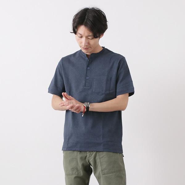 REMI RELIEF(レミレリーフ) メランジ スーパー度詰 天竺 ヘンリーネック Tシャツ / メンズ / ポケット / 半袖 / 無地 / 日本製