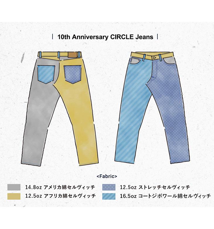 JAPAN BLUE JEANS(ジャパンブルージーンズ) J10TH2 10th アニバーサリー リミテッド サークル テーパード デニム / 10周年記念 / メンズ / ジーンズ /  岡山 日本製 / 10TH ANNIVERSARY LIMITED CIRCLE TAPERD