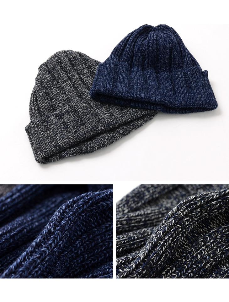 ROTOTO(ロトト)R5011 インディゴコットン×ウールビーニー / ニット帽 ローケージ /  メンズ / レディース / 日本製