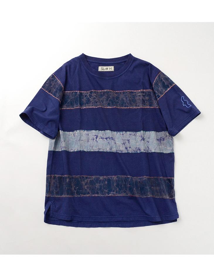 SLOW HANDS(スローハンズ) バティック ストライプ Tシャツ / ハンドステッチ / ボーダー / 刺繍 / BATIK STRIPE PT W/STITCHING