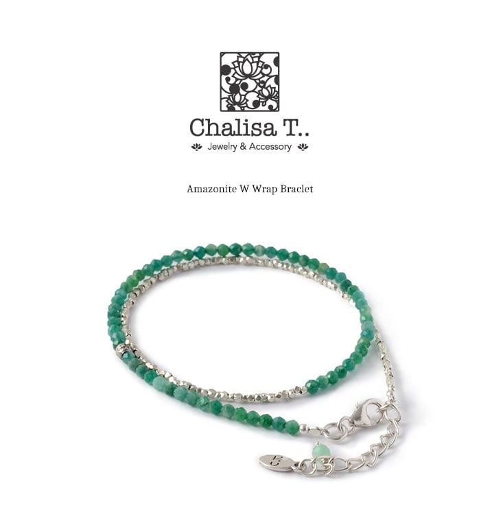CHALISA T..(チャリッサ・ティー) アマゾナイト Wラップ ブレスレット / カレンシルバー / 3mm マルチカットビーズ / レディース