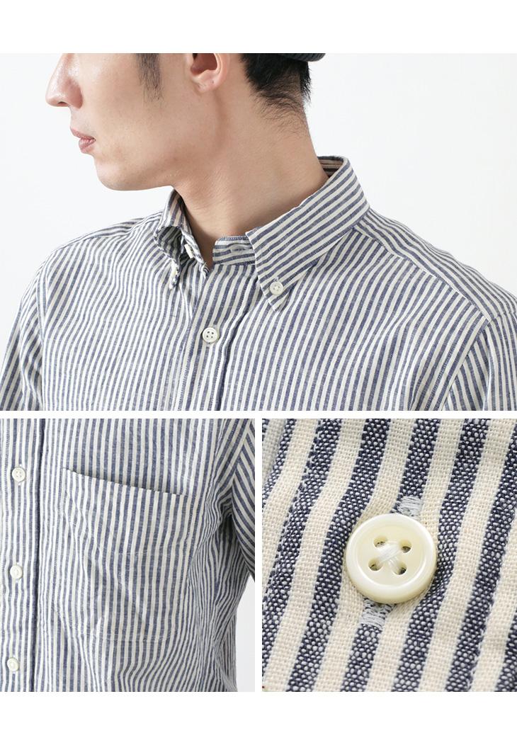 ROCOCO(ロココ) インディゴ セルビッチ ストライプ ボタンダウンシャツ / スタンダードフィット / メンズ / 長袖 / コットン / 播州織 / 日本製