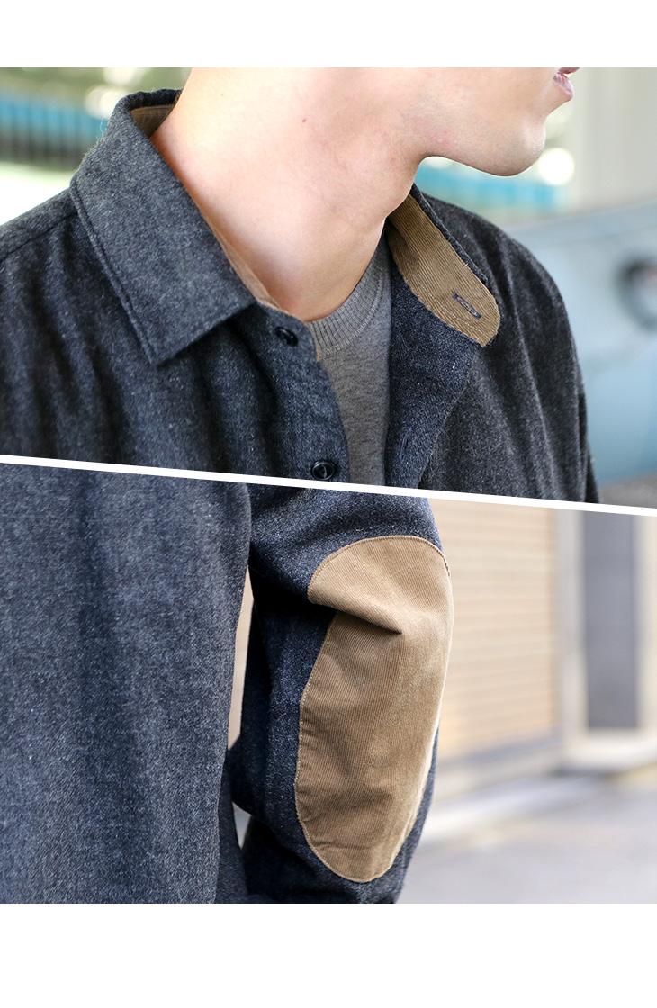 【期間限定!クーポンで10%OFF】ROCOCO(ロココ) レトロ ハンティング ウォッシャブル ウール シャツ / エルボーパッチ / ワイド / 長袖 / メンズ / 日本製