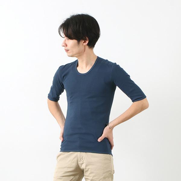 RE MADE IN TOKYO JAPAN(アールイー) カラー別注 パーフェクトインナー ハーフスリーブ Uネック / 5分丈 無地 / メンズ / 日本製