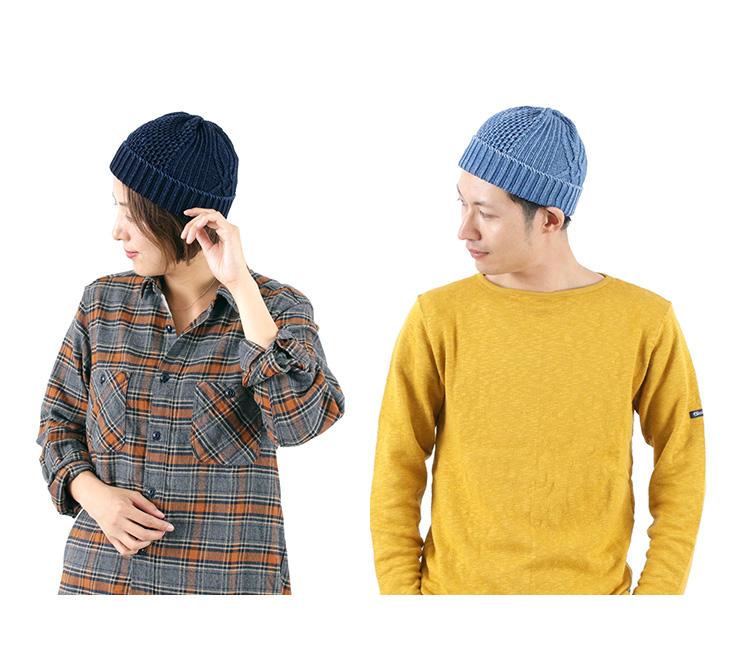 ROTOTO(ロトト)R5023 アランケーブル インディゴ / ワッチキャップ / ニット帽 /  メンズ / レディース / 日本製