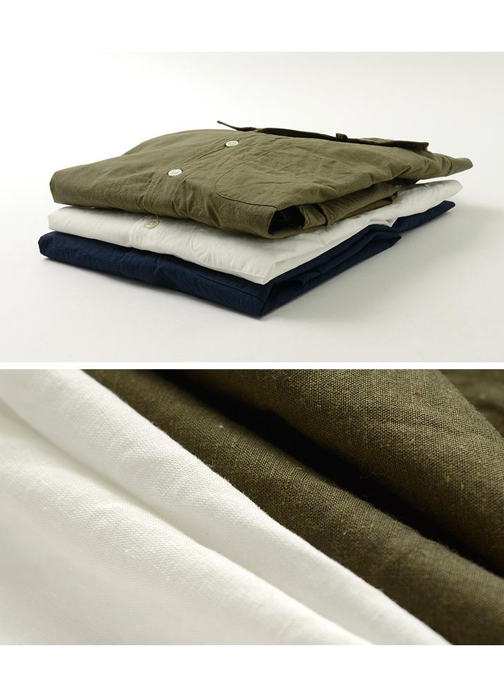 【期間限定!クーポンで10%OFF】ROCOCO(ロココ) 綿麻ダンプ イタリアンカラー 7分袖シャツ / タイプライター / メンズ/ 無地 / 日本製