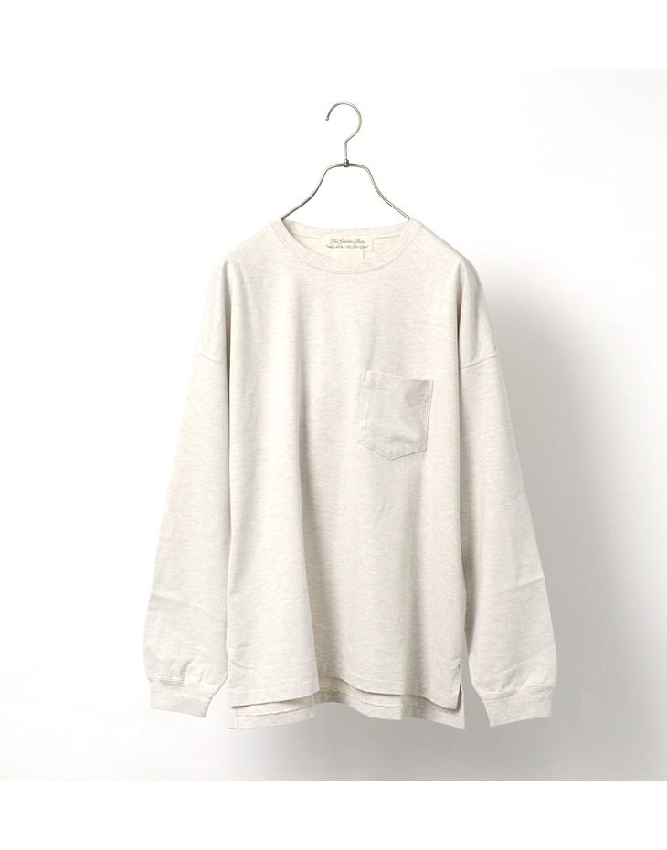 REMI RELIEF(レミレリーフ) 別注 メランジ 度詰 天竺 ポケット ロング Tシャツ / メンズ / ロンT 長袖 / クルーネック 無地 / 日本製