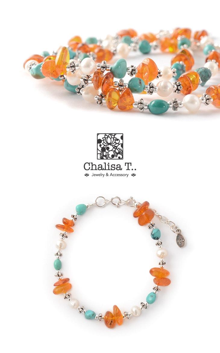 CHALISA T..(チャリッサ・ティー) ターコイズ アンバー パール コンビブレスレット / レディース / シルバー925