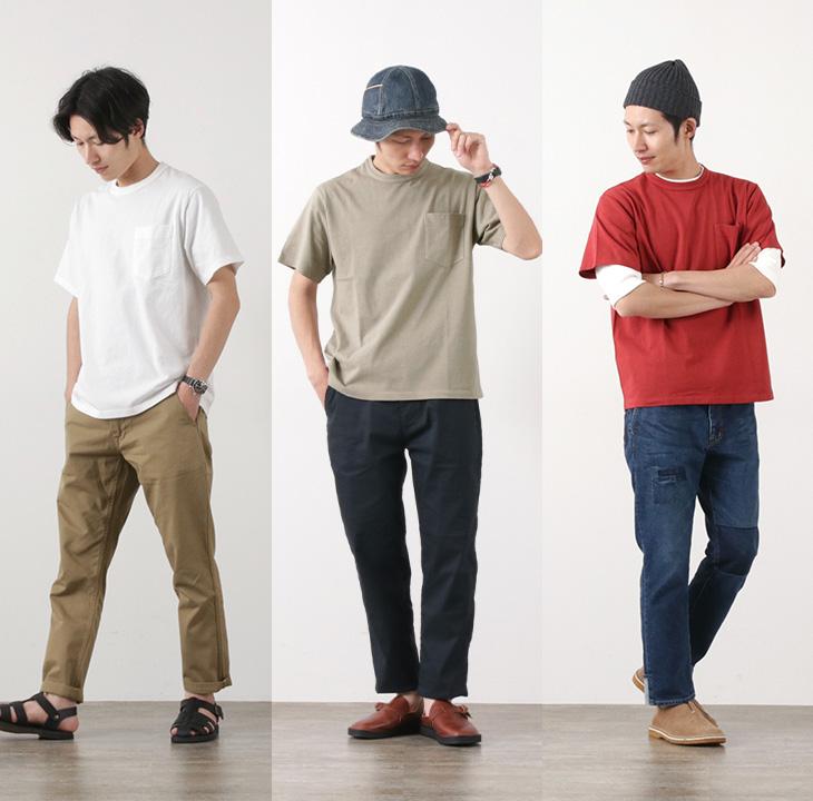BARNS(バーンズ) 18/- オープンエンド天竺 ポケットTシャツ / 米綿 / メンズ / 半袖 無地 / 日本製 / BR-8305