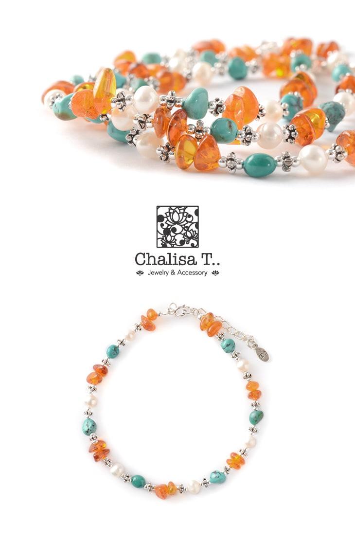 CHALISA T..(チャリッサ・ティー) ターコイズ アンバー パール コンビアンクレット / レディース / シルバー925