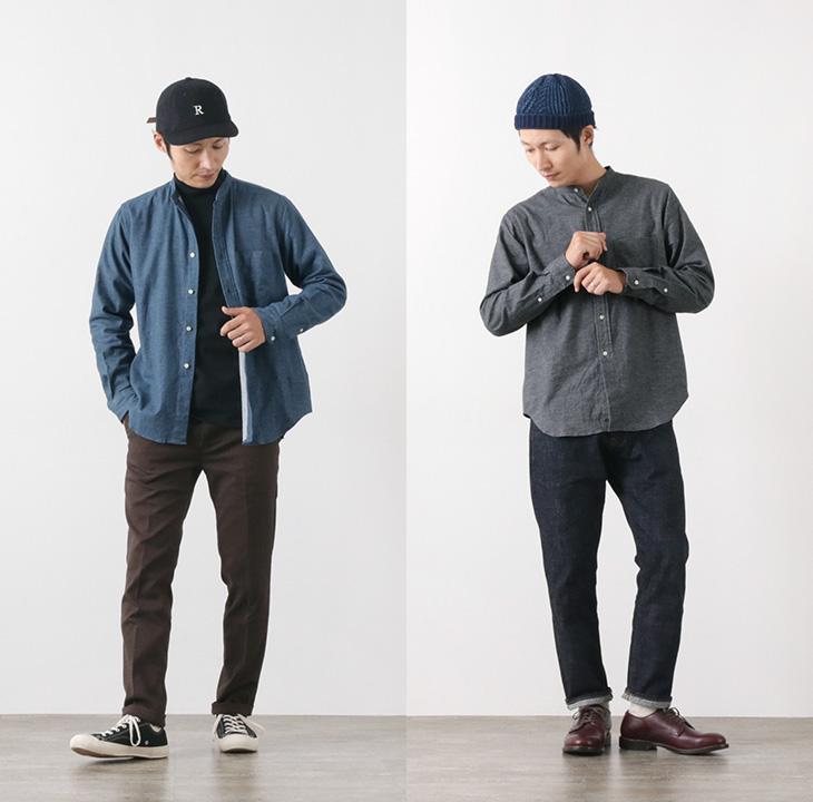 ROCOCO(ロココ) フリーフランネル バンドカラーシャツ / アメリカンフィット / メンズ / 長袖 / 日本製 / FREE FLANNEL BAND COLLAR SHIRT