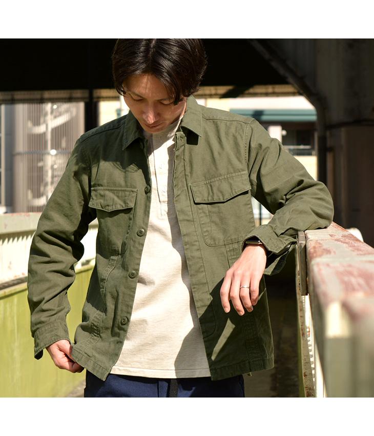 【期間限定!クーポンで10%OFF】ROCOCO(ロココ) ミリタリー ファティーグジャケット / バックサテン / ユーティリティーシャツ / メンズ / 日本製 / MILITARY FATIGUE JACKET / liou