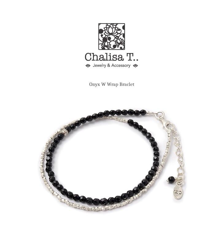 CHALISA T..(チャリッサ・ティー) オニキス Wラップ ブレスレット / カレンシルバー / 3mm マルチカットビーズ / レディース