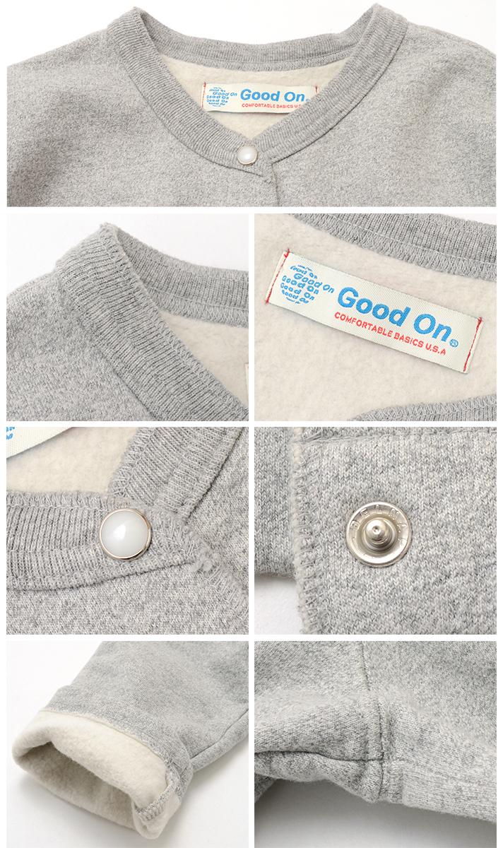GOOD ON(グッドオン)クルースウェットカーディガン / 裏起毛 / アメリカ製生地 / 日本製 / レディース / GOBW1711
