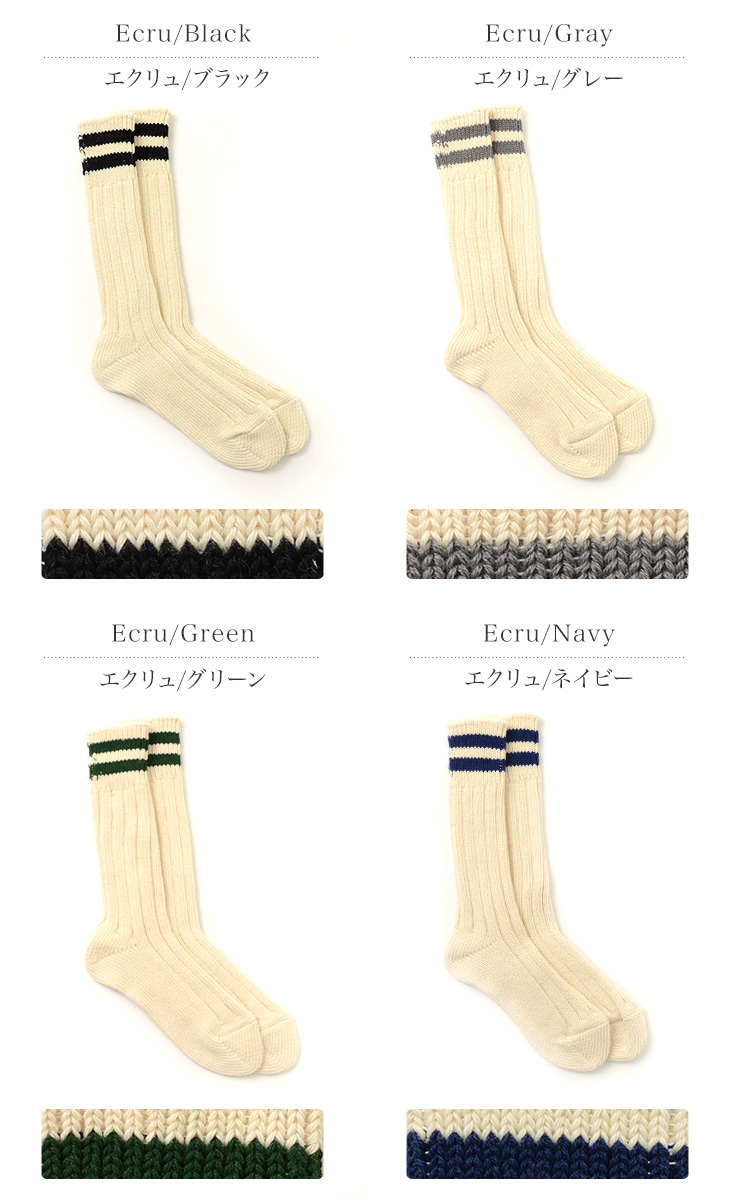 ROTOTO(ロトト) R1286 ローロー ソックス 2ストライプ/ メンズ / 日本製 / JACQUARD&STRIPES SOCKS