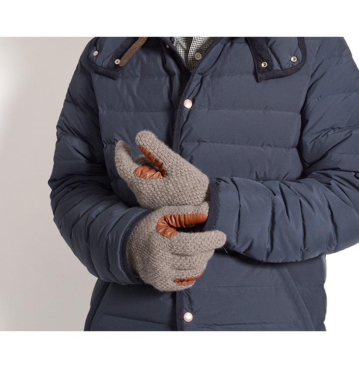 【期間限定!クーポンで10%OFF】ALPO(アルポ) カシミアニットレザーグローブ / 手袋 / メンズ 752/MC