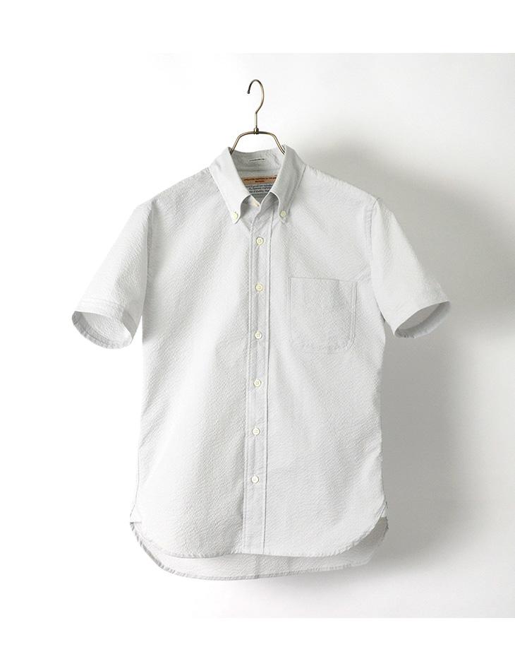 ROCOCO(ロココ) クールマックス サッカー ボタンダウン シャツ / スタンダードフィット / シアサッカー / 半袖 / メンズ / 日本製