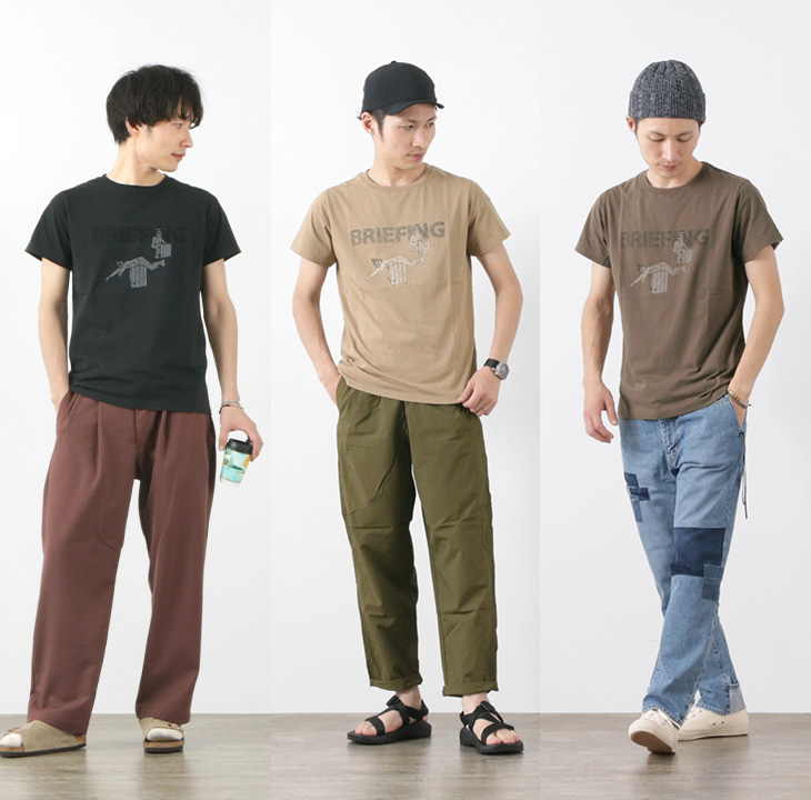 REMI RELIEF(レミレリーフ) 別注 LW加工 プリント Tシャツ(BRIEFING) / メンズ / 半袖 / 日本製