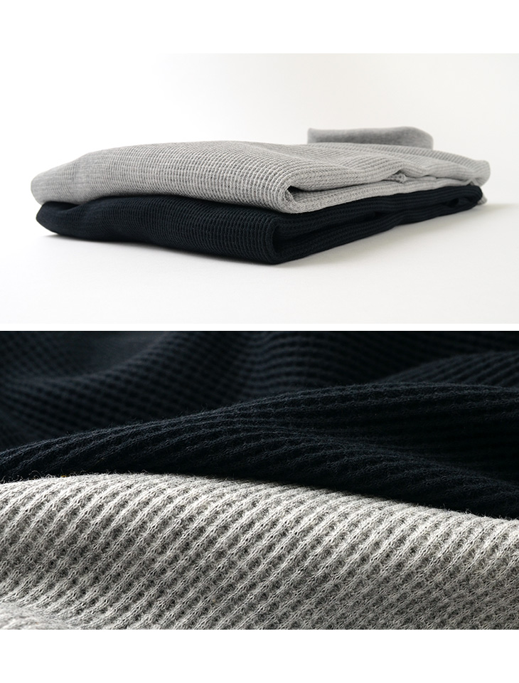 ROCOCO(ロココ) ワッフルサーマル ロングスリーブ タートルネック Tシャツ(コットンフライス) / メンズ / 長袖 / 無地 / 日本製