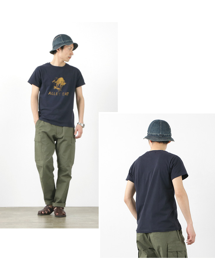 【期間限定!クーポンで10%OFF】REMI RELIEF(レミレリーフ) LW加工Tシャツ (ALLEY CAT) / メンズ / 半袖 / プリント / 日本製 / RN21289178