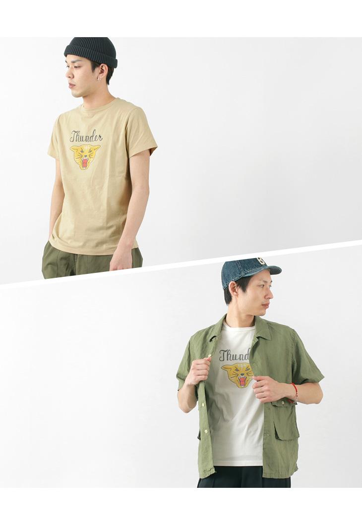 REMI RELIEF(レミレリーフ) LW加工 プリント Tシャツ(THUNDER) / メンズ / 半袖 / 日本製 / RN1824 9157