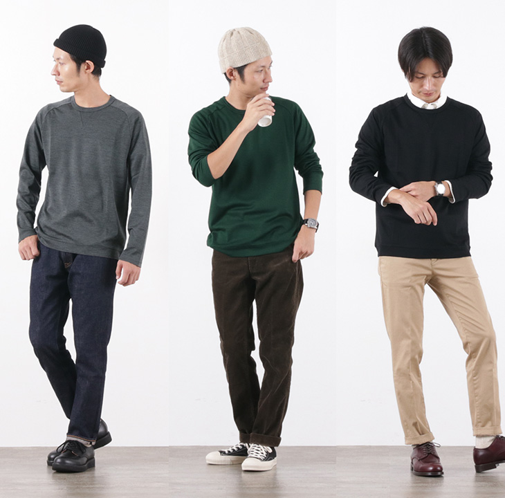 RE MADE IN TOKYO JAPAN(アールイー) ドレスウールジャージー クルーネック / メンズ / 日本製 / DRESS WOOL JERSEY CREW NECK