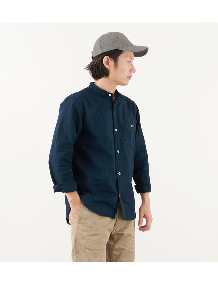 BARNS(バーンズ) カラー別注 オックス バンドカラーシャツ / コットン / メンズ / 長袖 / 日本製 / BR-7749R