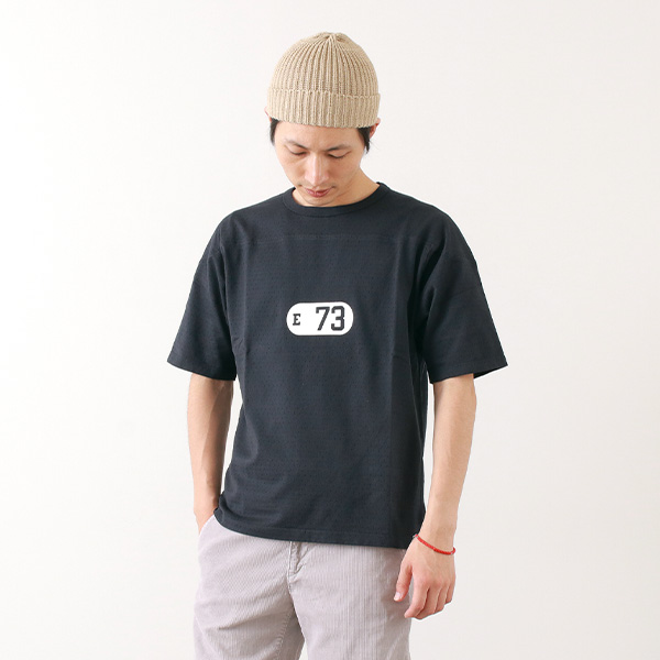 """【30%OFF】CAL O LINE(キャルオーライン)  """"E 73"""" メッシュ フットボール Tシャツ / 半袖 / メンズ / プリント / クルーネック / 日本製【セール】"""