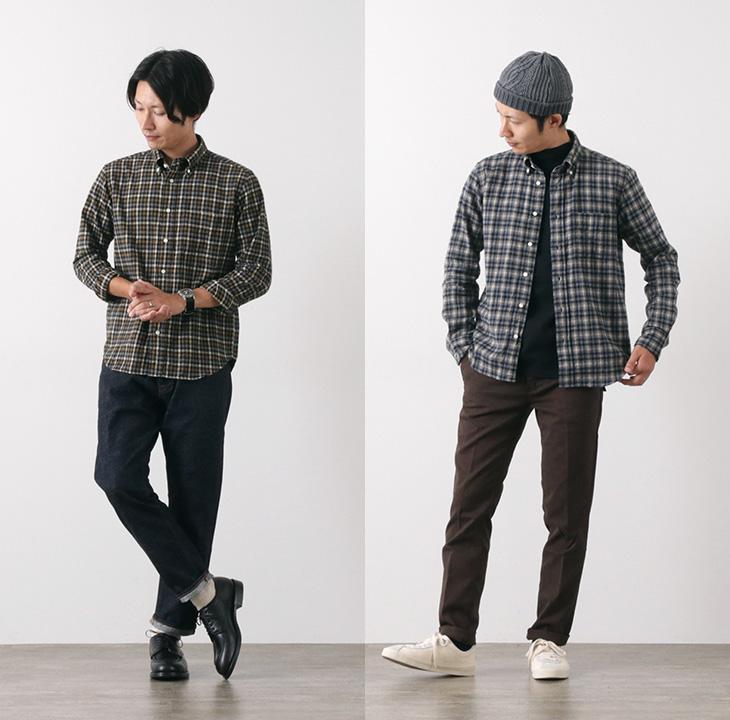 ROCOCO(ロココ) メランジシャギー ギンガム ボタンダウン シャツ / アメリカンフィット / チェック / 長袖 / メンズ / 日本製