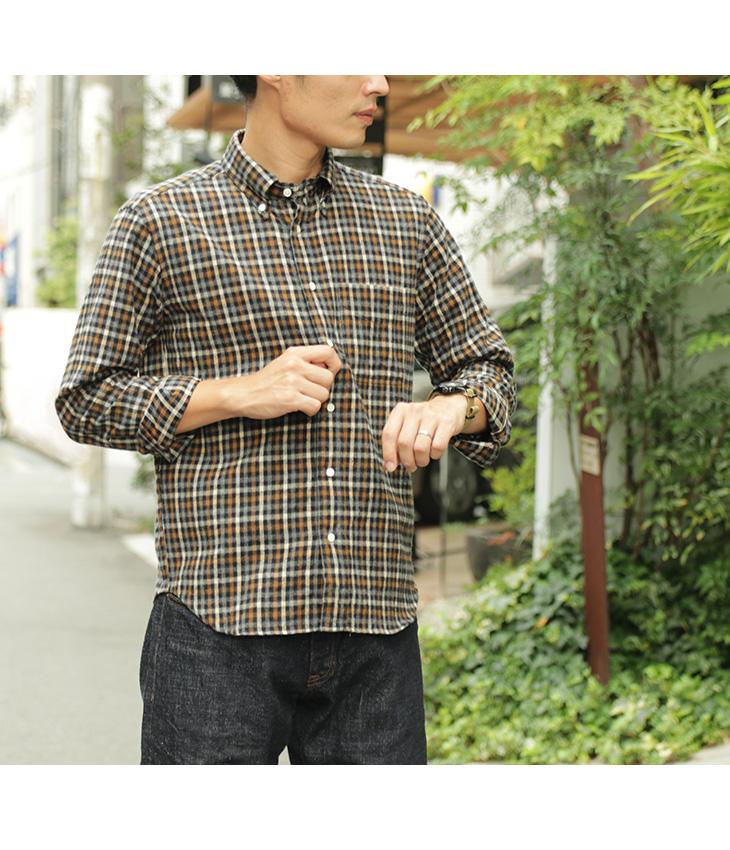 【期間限定!クーポンで10%OFF】ROCOCO(ロココ) メランジシャギー ギンガム ボタンダウン シャツ / アメリカンフィット / チェック / 長袖 / メンズ / ネルシャツ / 日本製