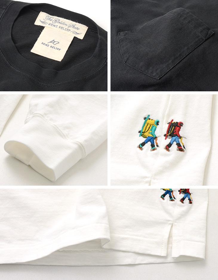 【20%OFF】REMI RELIEF(レミレリーフ) 16/-天竺 ポケロン Tシャツ / 刺繍 HIKER / メンズ / 無地 / 長袖 / 日本製 / ポケットT【セール】