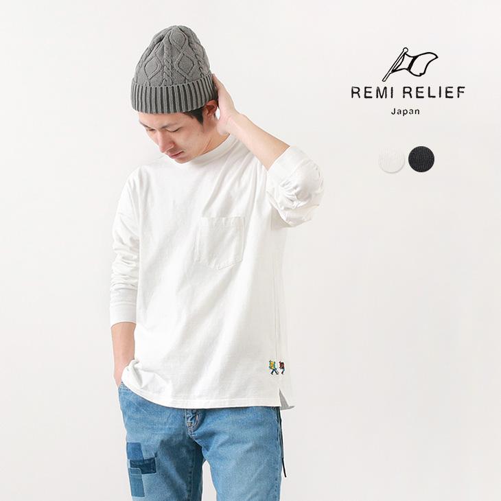 【期間限定!クーポンで10%OFF】REMI RELIEF(レミレリーフ) 16/-天竺 ポケロン Tシャツ / 刺繍 HIKER / メンズ / 無地 / 長袖 / 日本製 / ポケットT
