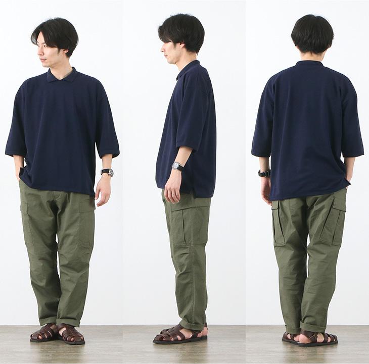 ROCOCO(ロココ) ピケ 鹿の子 ポロカラー Tシャツ / メンズ / ワイド / ゆったり / コットン / 七分袖 / ポロシャツ / ドライ / フランス製