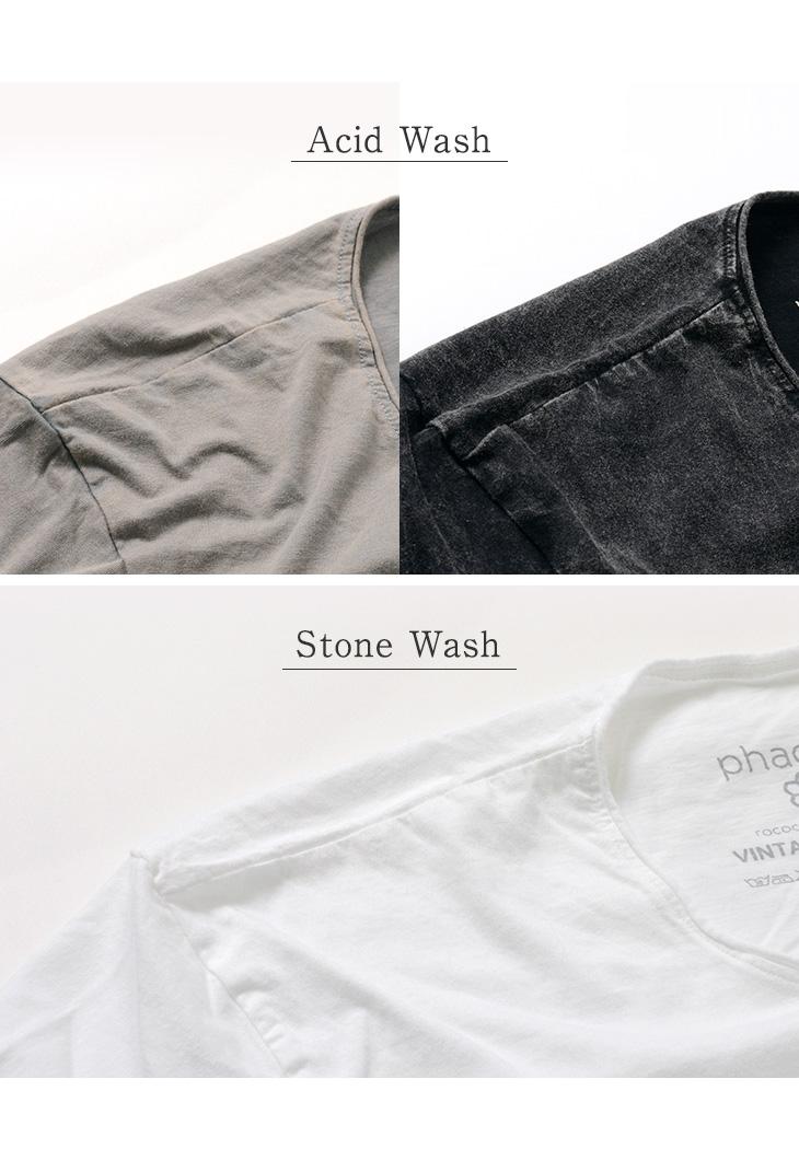 phaduA(パ・ドゥア) ヴィンテージウォッシュ クルーネック Tシャツ / メンズ / カットオフ / 薄手