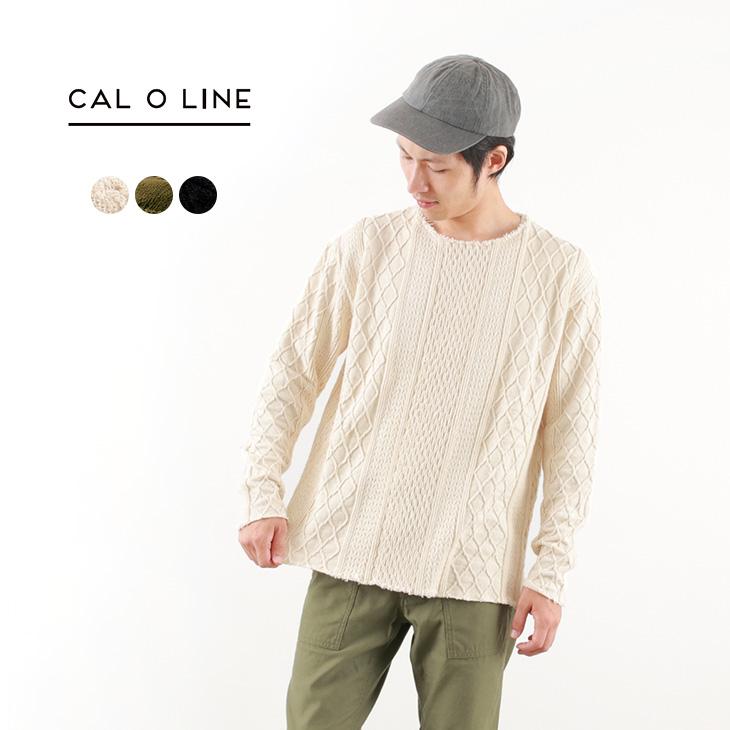【30%OFF】CAL O LINE(キャルオーライン) カットオフ ケーブル ロングスリーブ クルー ニット / カットソー ロンT / 長袖 メンズ / 日本製 / CUT OFF CABLE L/S TEE【セール】