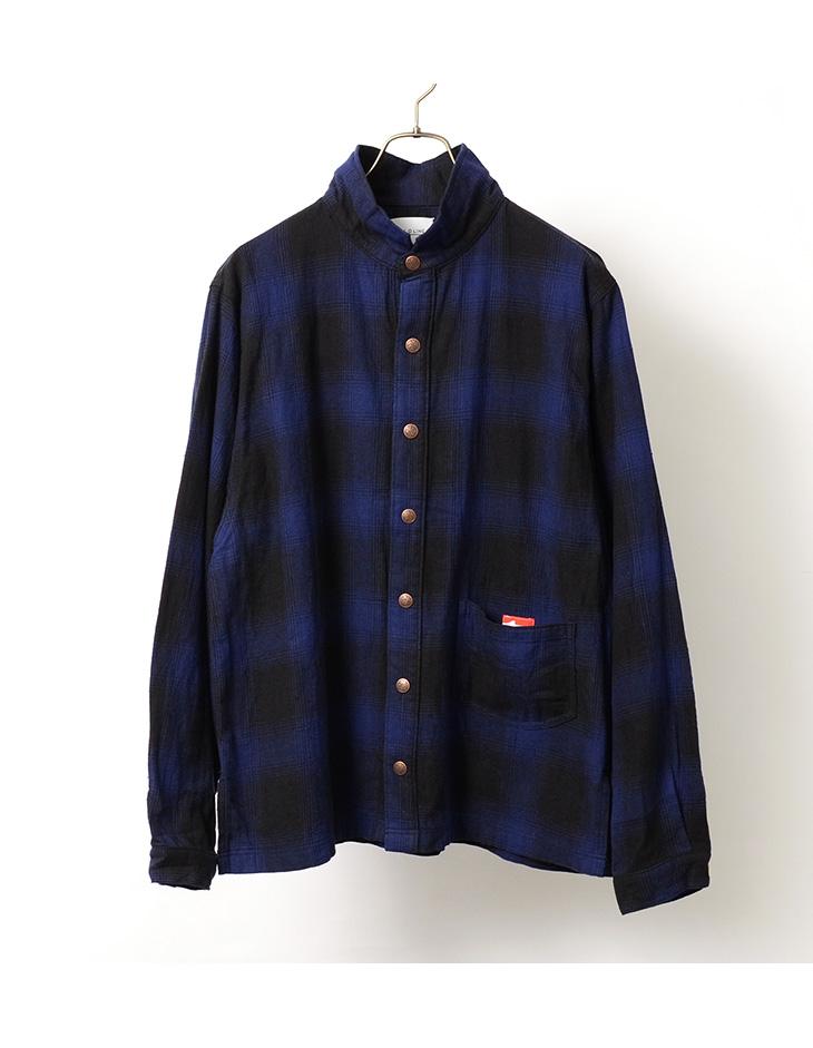 【50%OFF】CAL O LINE(キャルオーライン) チェック アトリエ スモック スタンドカラー / シャツジャケット / 長袖 / ネルシャツ / メンズ / 日本製【セール】
