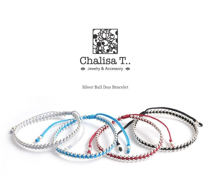 CHALISA T..(チャリッサ・ティー) シルバーボールビーズ デュオ ブレスレット / シルバー925 / レディース
