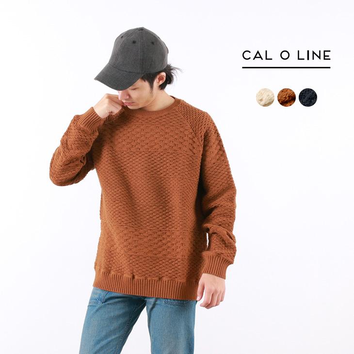 【30%OFF】CAL O LINE(キャルオーライン) ジャガード クルーネック スウェット / ニット / コットン / メンズ / 日本製 / JACQUARD CREW-NECK SWEAT【セール】